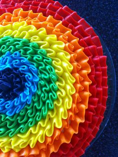 Rainbow ruffle cake. Wow, didn't realise this was a cake!