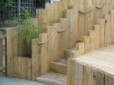 Garden design ideas railway sleepers steps with ropes