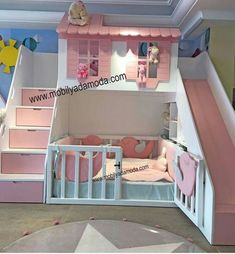 Home Bunk Bed with Slide With Montessori Bed # Six # Without Bed Baby Bedroom, Girls Bedroom, Master Bedroom, Bunk Bed With Slide, Toddler Bed With Slide, Childrens Bunk Beds, Girl Bedroom Designs, Bedroom Ideas, Bed Ideas