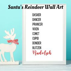 I dont know about you, but I like to decorate around a theme. As a thrifty gal, I try to do a lot myself and like to do it on the cheap. One room is done in reindeer - and this print is on the side table, in a frame I got from my local dollar store. It is understated simplicity - the list of Santas Christmas Wall Art, Operation Christmas, Santa And Reindeer, Christmas Printables, Xmas Decorations, Dollar Stores, Craft Supplies, Holiday Decor, Frame