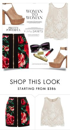 """Floral skirts"" by fantasticbabe ❤ liked on Polyvore featuring Balmain, Alice + Olivia and Rebecca Minkoff"