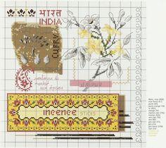 point de croix grille et couleurs de fils baton encens d'inde de veronique enginger