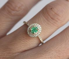 Gold Emerald Ring Halo Emerald Ring Halo Engagement Ring