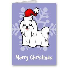 Christmas Maltese (blue bow topknot) Card