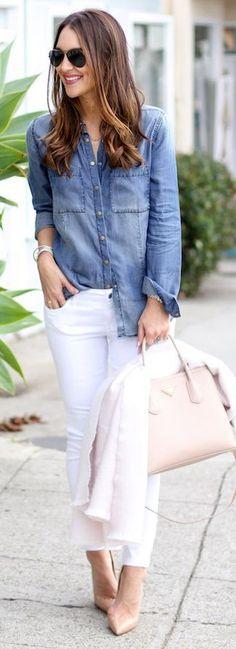 Seleccionamos algunas ideas fabulosas para combinar pantalones blancos en cualquier momento del día.