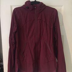 EUC Lululemon Rain Runner jacket Worn and washed twice lululemon rain runner jacket. Color is a wine/deep burgundy. Size 10. lululemon athletica Jackets & Coats