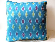Indian Silk Ikat PillowCushion Cover in by oldsilkroute on Etsy, $15.00