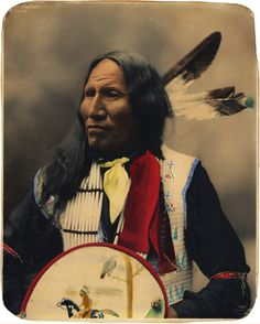 Strikes with nose, 1899 - Oglala Sioux Chief (coloured by David A. Rector)