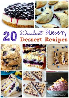 With fresh blueberries in abundance this time of years, here are 20 of the most fabulous looking Blueberry Dessert Recipes for you to try.