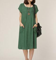Green Linen dress maxi dress short sleeve dress by Beautygirl02, $54.00