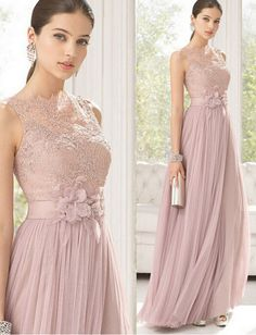 Modest Pink Lace Long Bridesmaid Dresses Prom Dress, m Gorgeous Prom Dresses, Elegant Prom Dresses, Chiffon Evening Dresses, Long Bridesmaid Dresses, Formal Dresses, Dress Prom, Party Dresses, Dress Long, Custom Made Prom Dress