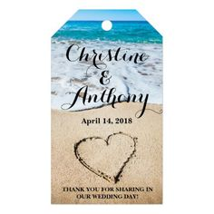 Heart on the Shore Beach Wedding Favor|Gift Tags