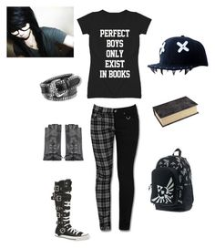 """""""nerd emo girl outfit"""" by sjcountrygirl-sj ❤ liked on Polyvore featuring Converse, Forzieri, Pier 1 Imports, Nintendo and Maison Fabre"""