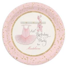 Shop Ballerina Tutu Baby Girl Shower Script Typography Paper Plate created by LuxuryWeddings. Personalize it with photos & text or purchase as is! Girl Baby Shower Decorations, Birthday Party Decorations, Birthday Party Invitations, Shower Invitations, Birthday Cards, Baby Girl First Birthday, First Birthday Parties, First Birthdays, 2nd Birthday