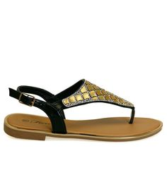 Adriel-14 Black Rhinestone Gold Detail Thong Flat Sandals