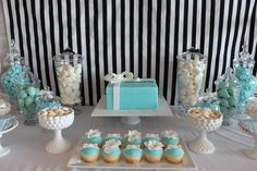 Breakfast at Tiffany's Bridal Shower Tiffany Blue Decorations, Tiffany Theme, Azul Tiffany, Tiffany Birthday Party, Tiffany Party, Tiffany Wedding, Tiffany Cupcakes, 5th Birthday, Breakfast At Tiffanys Party Ideas