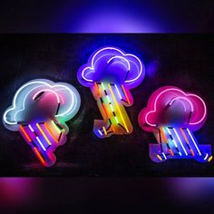 New additional multicoloured neon rain clouds available to hire now #silverlining ☔🌨🌈🌧☔ #photography @kofipaintsil Check out this and more within our prop section on ☞www.kemplondon.com☜