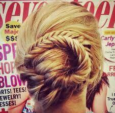 super cute fishtail braid made into bun. :D