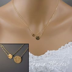 Layered Gold Initial Baby Mama Necklace, Personalized with Two Charms Discs - Baby Foot and Initial