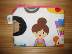 Padded Zip Pouch purse Gadget Coin Case - Girly Girl superhero print