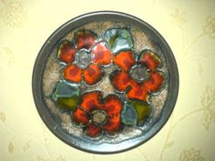 Wandteller Plate 717/1 Blumen Flowers WGP ? Ruscha Keramik