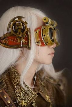 Fancy goggles - steampunk - ☮k☮ fancy but indeed! Look at the detail on the collar Design Steampunk, Viktorianischer Steampunk, Costume Steampunk, Steampunk Gadgets, Steampunk Couture, Steampunk Goggles, Steampunk Clothing, Steampunk Fashion, Steampunk Necklace