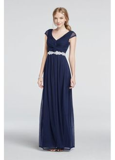 For the bridesmaids!  Cap Sleeve Dress with Beaded Waist 8420GM8B