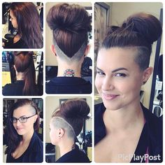 Beautiful V-shaped undercut, buzzed high over the ears and long on top. Very versatile cut allows you to switch between sidecut, Mohawk or full undercut styles, depending on how you wear your hair. Or wear it down for a more conventional look. Undercut Hairstyles Women, Undercut Long Hair, Cool Hairstyles, Medium Hairstyles, Long Mohawk, Wedding Hairstyles, Men's Hairstyle, Braided Mohawk Hairstyles, Undercut Styles
