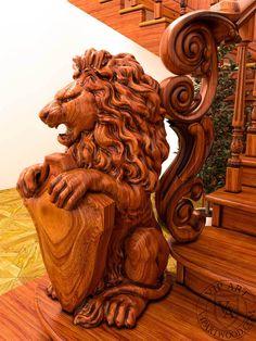 Заходной столп лестницы украшен деревянной фигурой льва.