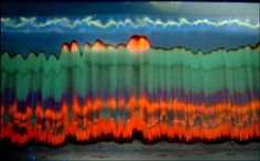 Burning Waves Under The TLC Sky | Dr. Haim Weissman, Organic Chemistry Department. The image is a luminescent result of an exposure to UV light of a Thin Layer Chromatographic (TLC) separation plate containing a separated crude reaction mixture of ruthenium terpyridine complexes. The different compounds that were separated on the plate during the chromatographic process luminesce in different colors.