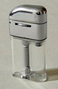 Vintage DuoLiter Cigarette Lighter, Visible Fuel Supply, Magic Wheel Adjustment for Wick, Circa