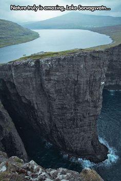 Still amazed…Lake Sorvagsvatn, Faroe Islands 30m above the Ocean