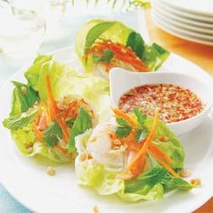 Vietnamese Shrimp Lettuce Wraps with Spicy Lime Dipping Sauce | MyRecipes.com