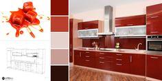 O culoare vibrantă este alegerea perfectă pentru mobilierul de bucătărie! 🍬 Bathroom Lighting, Vanity, Mirror, Furniture, Home Decor, Houses, Bathroom Light Fittings, Vanity Area, Homemade Home Decor