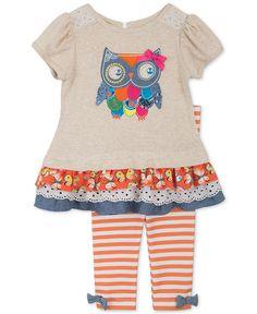 Rare Editions Baby Girls' 2-Pc. Owl Top & Leggings Set - Baby Girl (0-24 months) - Kids & Baby - Macy's
