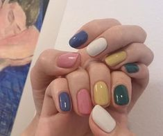 Oval Acrylic Nails, Summer Acrylic Nails, Stylish Nails, Trendy Nails, Hair And Nails, My Nails, Nail Color Combinations, Multicolored Nails, Fire Nails
