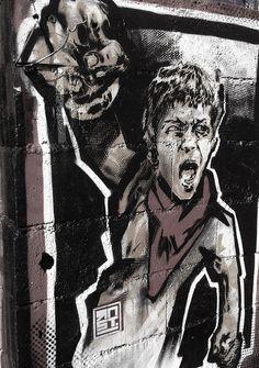 rnst street art pochoir stencil kid rebel