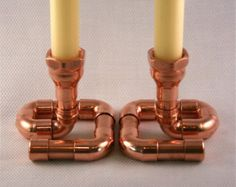 Sostenedor de vela de tubo de cobre industrial por McGdesign