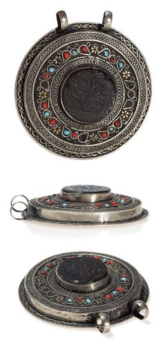 Central Asia - possibly Afghanistan | Pendant; silver, partially gilded and set with glass. Ø 7 cm | 20th century | 250€ ~ Sold (Aug '15)
