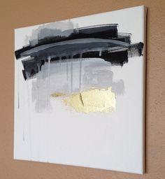 "Abstract Acrylic Painting Original Fine Art 12""x12"" by Linnea Heide - metallic silver - black white grey"