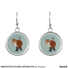MARCH FOX & FLORAL ANTLER OWL EARRINGS