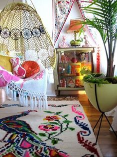 Bohemian. colorful! but yet the walls are white...like a rental space