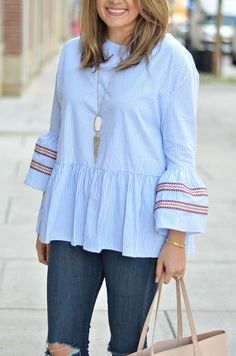 stripe bell sleeve top outfit - embroidered bell sleeve top with skinny  jeans  bf612dea9341