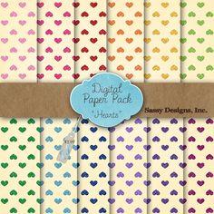 Hearts Digital Paper Pack #sassydesigns #digitalpaper #valentine #glitter