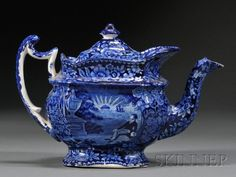 Historical Blue Transfer-decorated Staffordshire Pottery Teapot, Enoch Wood & Sons, Burslem, England, the te. Blue And White China, Blue China, Dark Blue, Delft, Chinoiserie, Pottery Teapots, Ceramic Teapots, Art Chinois, Teapots Unique
