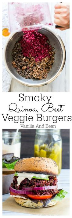 These veggie burgers can be made ahead and frozen for those times when dinner must be fast! Smoky Quinoa, Beet Veggie Burgers with Adobo Aioli | Vanilla And Bean