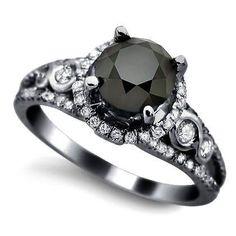 Black Diamond Vintage Engagement Ring | From Blog: 25 Black Diamond Engagement Rings via InkedWeddings.com