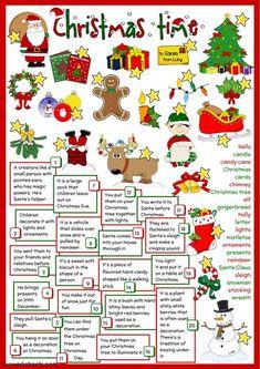 Christmas Time - English Esl Worksheets images ideas from Worksheets Ideas Christmas Tree And Santa, English Christmas, Christmas Games, Christmas Activities, Kids Christmas, Xmas, Merry Christmas, Christmas Greetings, Christmas Definition