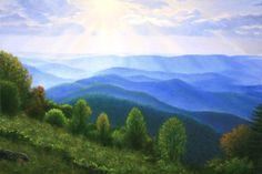 blue ridge mountains   Sunburst on the Blue Ridge - Mountains in Virginia - Oil Paintings by ...