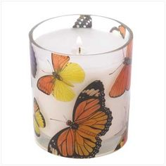 Butterflies flutter their colorful wings on all sides of a wonderful 7 oz. wild orchid scented decorative candle, bringing to mind the sights and scents of a carefree summer day. A true sensory delight that fills the air with a gentle hint of fragrance! Burns up to 35 hours.